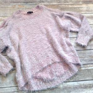 Express Cold Shoulder Cozy Pink Hi-Lo Sweater Med.